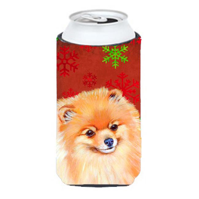 Pomeranian Red and Green Snowflakes Holiday Christmas Tall Boy   Hugger - image 1 de 1