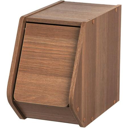 Iris Stack Box With Door Narrow  Dark Brown