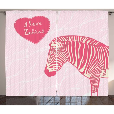 Pink Zebra Curtains 2 Panels Set, I Love Zebras in Heart Romantic  Wilderness Nature Savannah Fashion, Window Drapes for Living Room Bedroom,  108W X ...