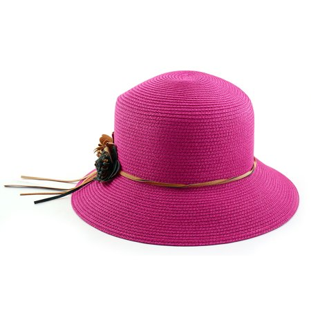 082208c3 Outdoor Travel Flower Decor Wide Floppy Brim Beach Straw Cap Sun Hat  Fuchsia - image 4 ...