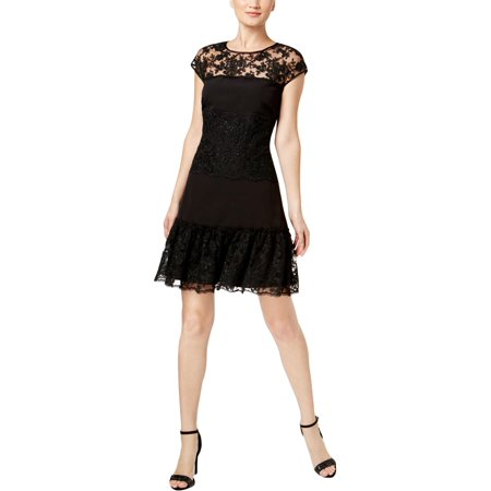 MSK Womens Black Lace-stripe Cap Sleeve Jewel Neck Above The Knee Fit + Flare Cocktail Dress  Size: -