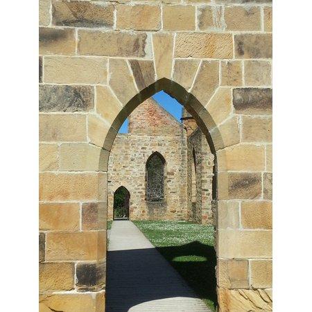 Canvas Print Shadow Arch Convict Church Ruin Port Arthur Stretched Canvas 10 x 14