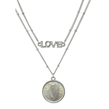 Irish Three Pence Harp Coin Double Strand Love Necklace
