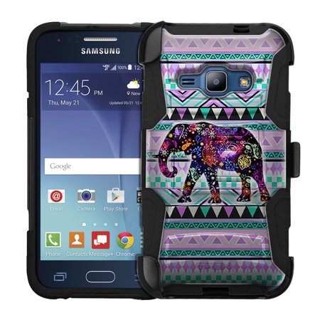 Hybrid Tea Collection - Samsung Galaxy Amp 2 Armor Hybrid Case Elephant on Aztec Andes Tribal Tea 2 Piece Case with Holster for Samsung Galaxy Amp 2