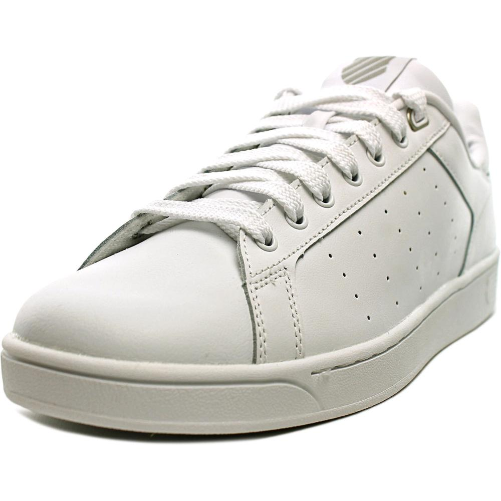 K-Swiss Clean Court Men Round Toe Leather White Tennis Shoe by K-Swiss