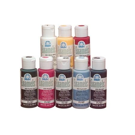 Folk Art Non-Toxic Water Based Enamel Paint Set, 2 oz Bottle, Multiple Color, Set of 8