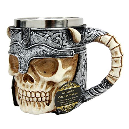 Atlantic Collectibles Viking Horned Demon Warrior Skull With Battle Helmet Beer Stein Tankard Coffee Cup Mug