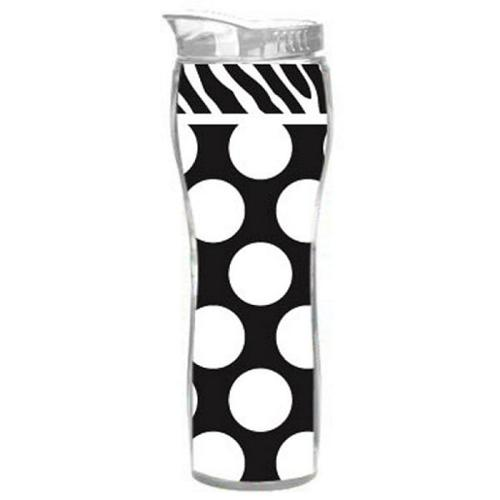 16 oz. Zebra Print & Polka Dots Curved Insulated Travel Cup with Lid