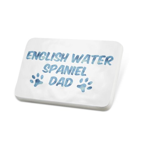 Spaniels Cats (Porcelein Pin Dog & Cat Dad English Water Spaniel Lapel Badge – NEONBLOND)