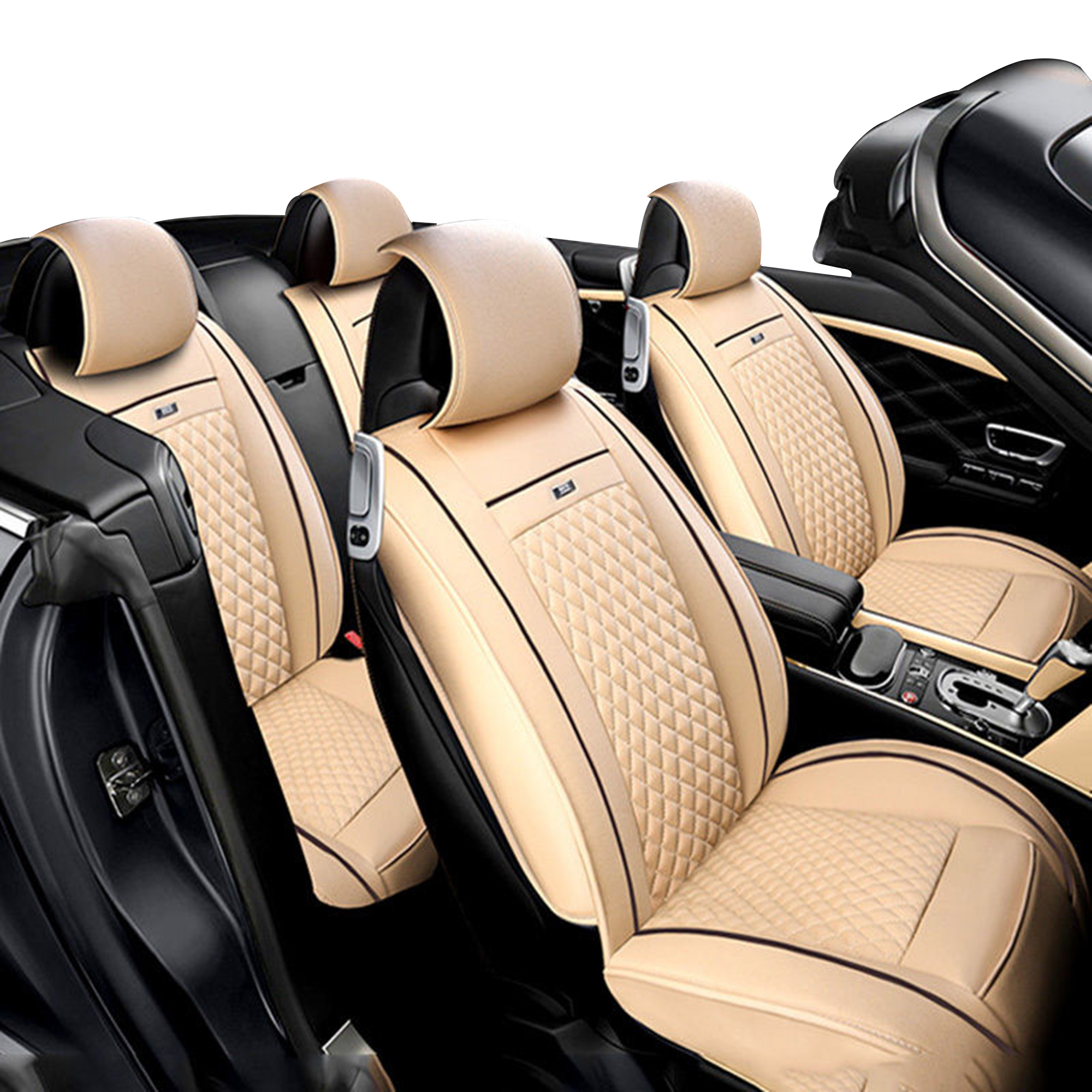 TINTON LIFE PU Leather Full Set Universal Car Seat Protector Covers Skidproof Solid Cushion