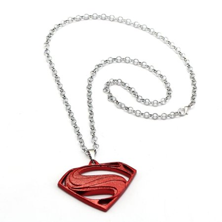 Brick Red Superman Style Anti-Tarnish Superhero Necklace Pendant with Bead or Link Chain Jewelry, -