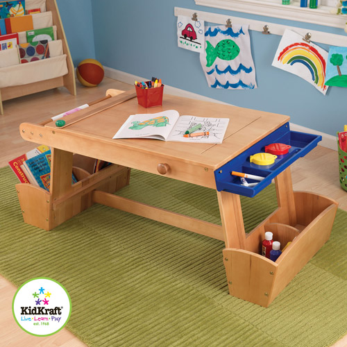 KidKraft Wooden Art Table with Drying Rack and Storage with Paper Roll & 2 Plastic Paint CUps with Lids