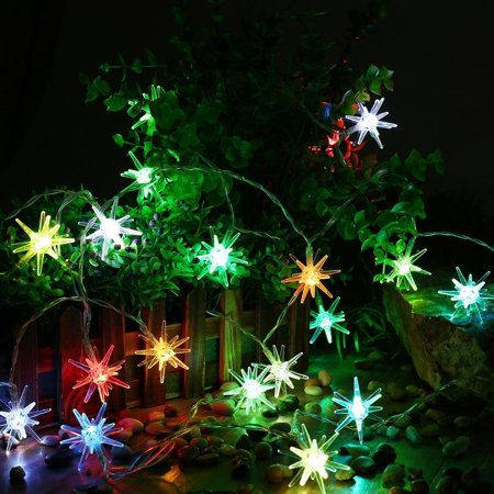 qedertek christmas lights crystal stars battery operated string lights20 led auto time lighting with