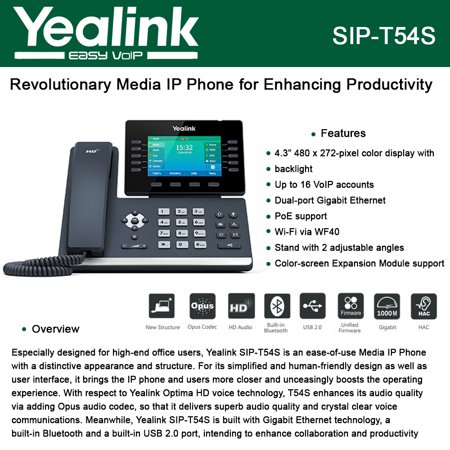 Yealink Sip T54s Ip Phone Poe 16 Lines Dual Port Gigabit Ethernet