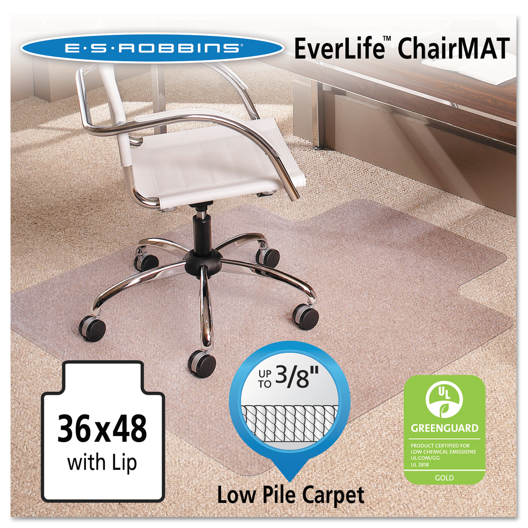 es robbins everlife 36 x 48 chair mat for low pile carpet