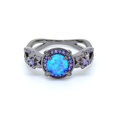 Sloane Blue Black Plated Lab Created Fire Opal Purple CZ Ring - Ginger Lyne