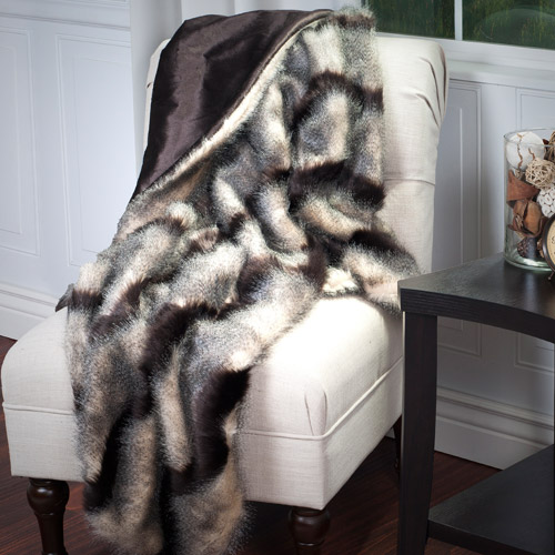 Somerset Home Luxury Long Haired Striped Faux Fur Throw
