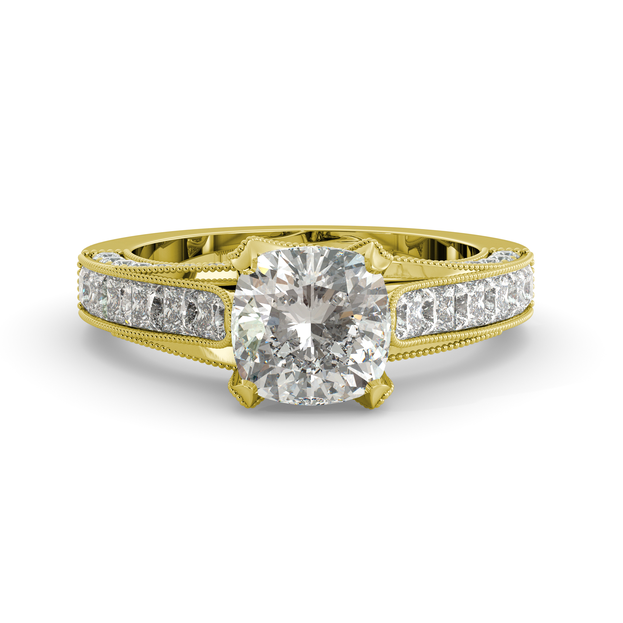 3.65 dwt Cushion One Moissanite & Round Princess Diamond Engagement Ring 18K Yellow Gold by J&H Jewelers