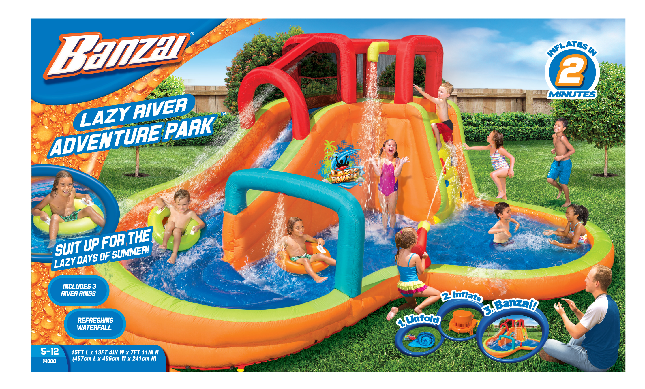 Click here to buy Banzai Lazy River Adventure Park (Backyard Inflatable Waterslide with Sprinkler, Cannon and Lagoon Splash Pool) by Banzai.