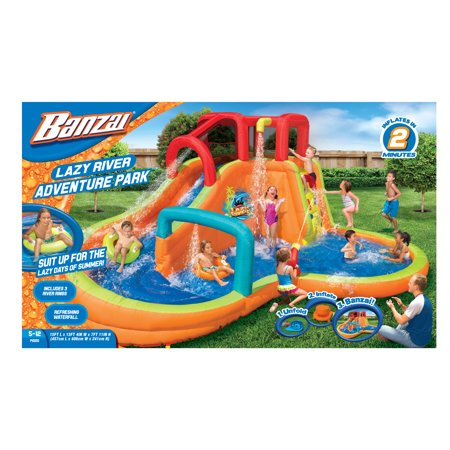 Mega Water Slide - Banzai Lazy River Adventure Park (Backyard Inflatable Waterslide with Sprinkler, Cannon and Lagoon Splash Pool)