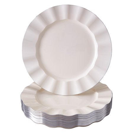 "DISPOSABLE DINNER PLATES | 20 pc | Heavy Duty Plastic Dishes | Elegant Fine China Look | Veil - Ivory (11.25"")"