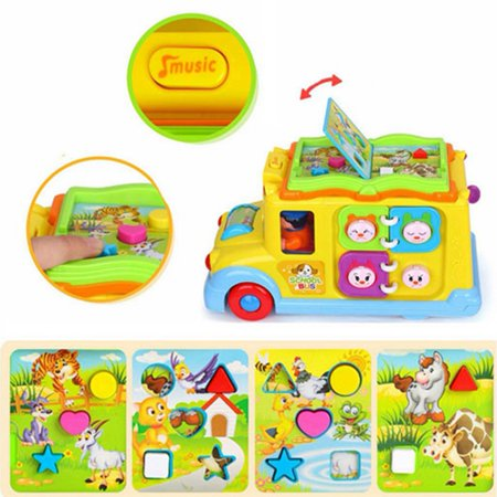 Children Battery Operated Multifunctional Intellectual School Bus, Bump and Go, Music and Light - image 5 of 7