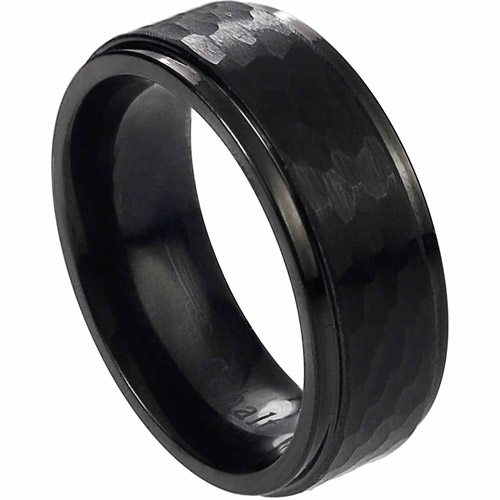 Daxx Men's Cobalt Black Hammered Band, 8mm