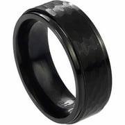 Daxx Men's Cobalt Black Hammered Band, 8mm