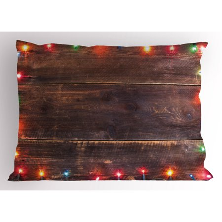 new year pillow sham festive christmas ornaments on worn out wooden board rustic themes merry xmas