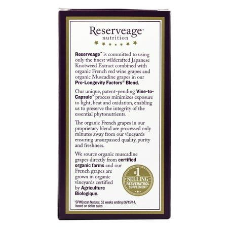 Best Reserveage Organics Reserveage  Resveratrol, 60 ea deal