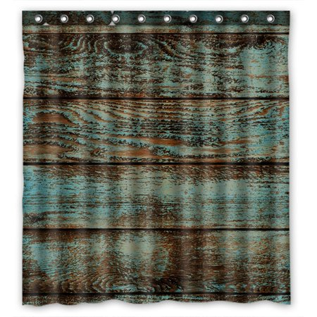 GCKG Vintage Rustic Old Barn Wood Bathroom Shower Curtain, Shower Rings Included 100% Polyester Waterproof Shower Curtain 66x72 inches