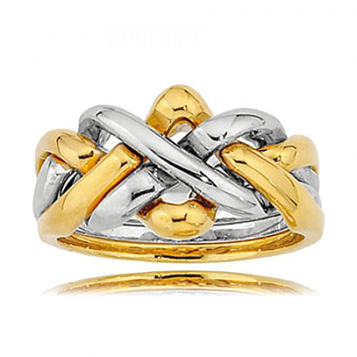 Men's 14K White And Yellow Gold Four Piece Puzzle Wedding Band