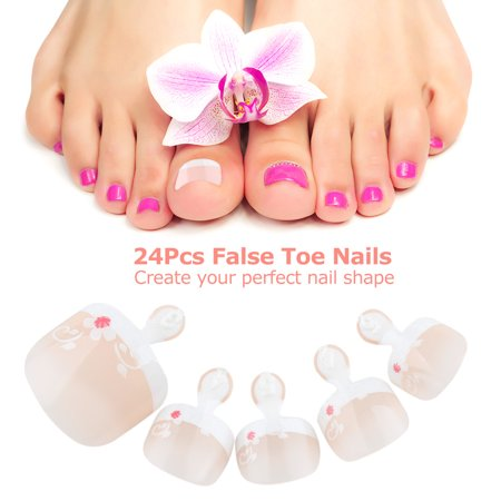 24Pcs False Toenail Tips Set French Full Cover Fake Toe Nail Tips for DIY Manicure - Halloween Nail Designs Toes