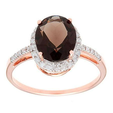 10k Rose Gold Oval Smoky Quartz and Diamond Halo Ring Marquise Smoky Quartz Ring