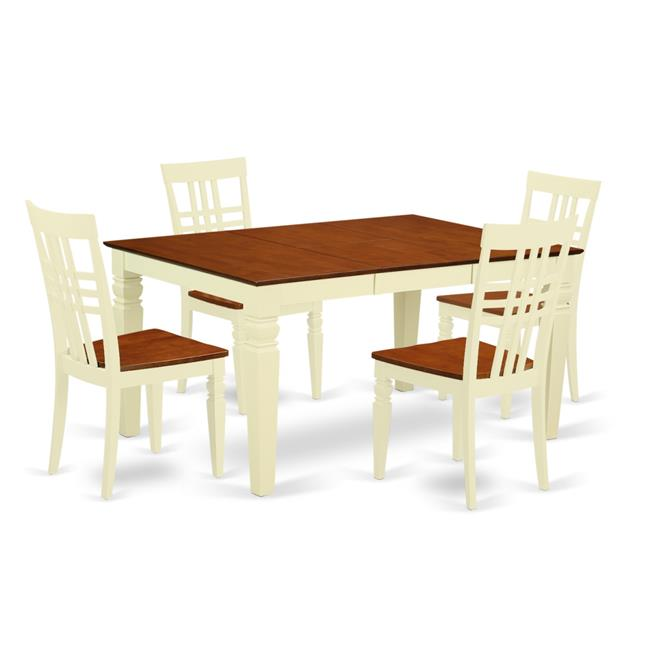 East West Furniture WELG5-BMK-W Kitchen Set with One Weston Table & 4 Solid Wood Seat Chairs, Buttermilk & Cherry - 5 Piece