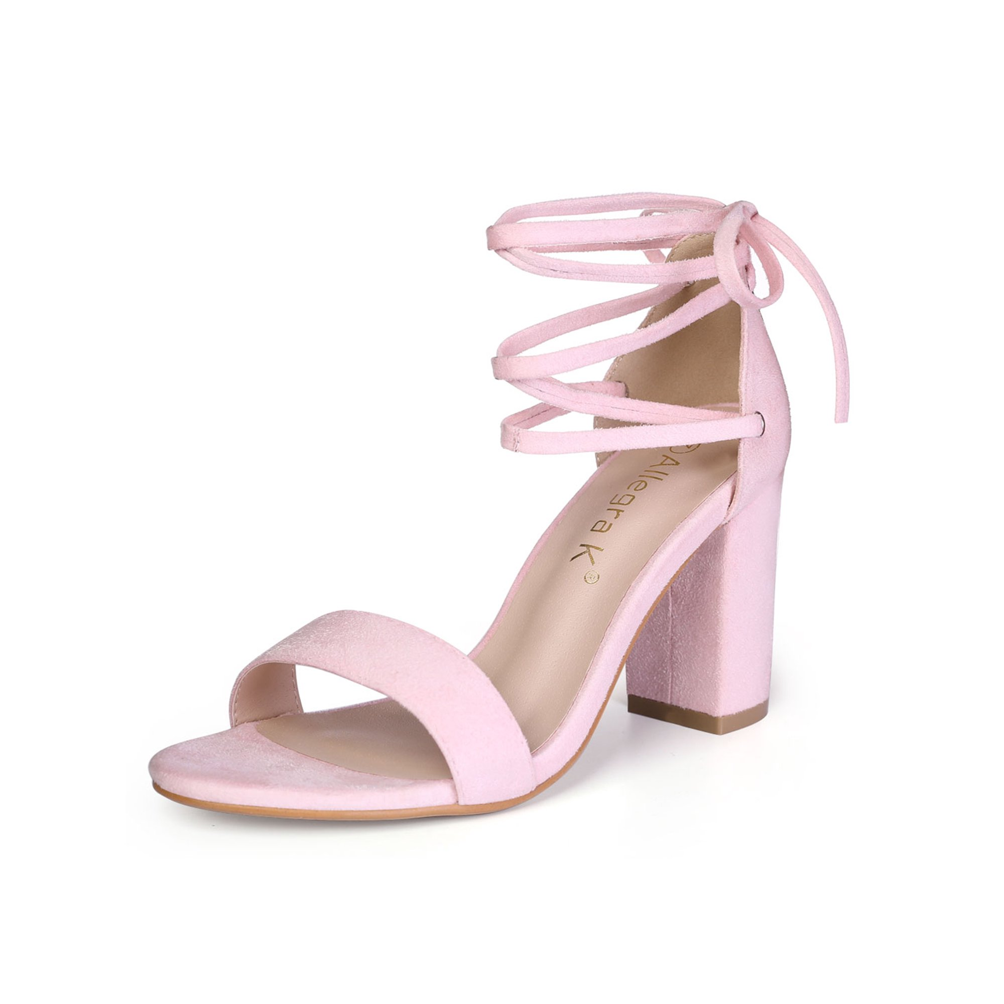 162e52b7749de Unique Bargains Women's Lace Up Chunky Heel Dress Sandals Light Pink (Size  9)