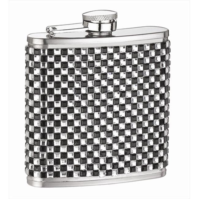 FJX Wholesale HFL-SP069 6oz White and Black Diamond Flask