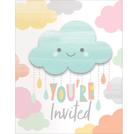 Baby Sprinkle Invitations (Club Pack of 48 Blue and White Sunshine Baby Showers Invitation Card)