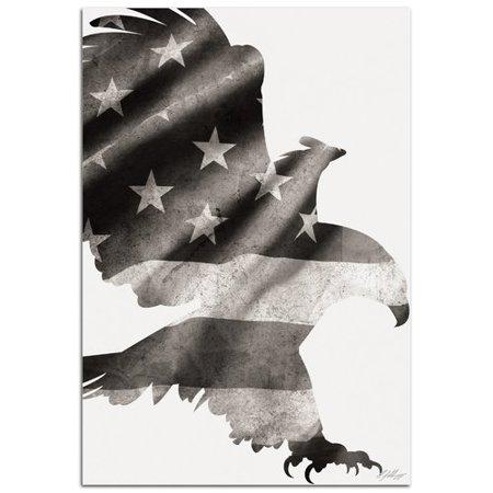 Metal Art Studio Wildlife Patriot Eagle Black & White   ContemporaryUS Flag Silhouette by Adam Schwoeppe Graphic Art Plaque