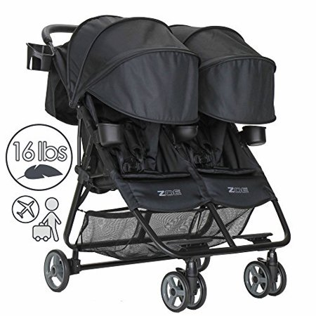 Zoe Xl2 Deluxe Double Xtra Lightweight Twin Travel Everyday Umbrella Stroller System Black
