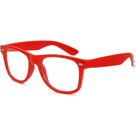 Halloween Lenses No Prescription (Skeleteen Red Clear Lens Glasses - 80's Style Non Prescription Retro Frames Nerd Costume)
