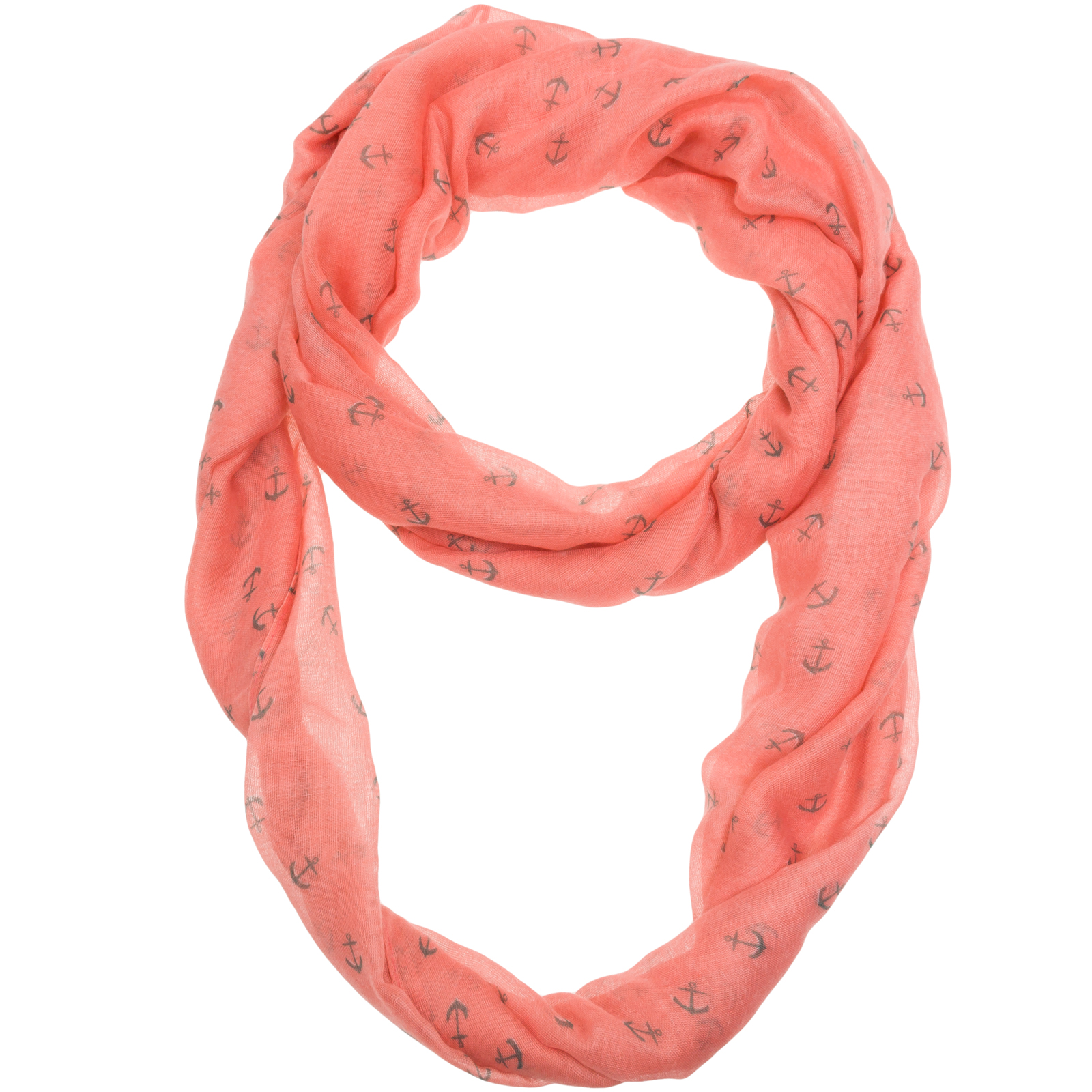 SILVER LILLY NEW Womens Pink Anchor Print Soft Sheer Infinity Loop Fashion Scarf