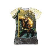 Jla - Good Vs Evil (Front/Back Print) - Juniors Cap Sleeve Shirt - Small