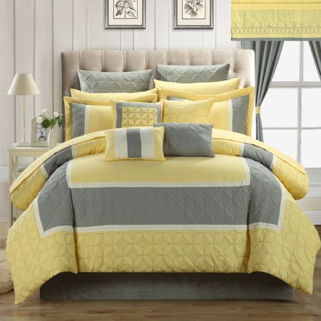 Aida Quilted 24 or 25 Piece Room In A Bag Comforter Bed Sheet Set Yellow ()