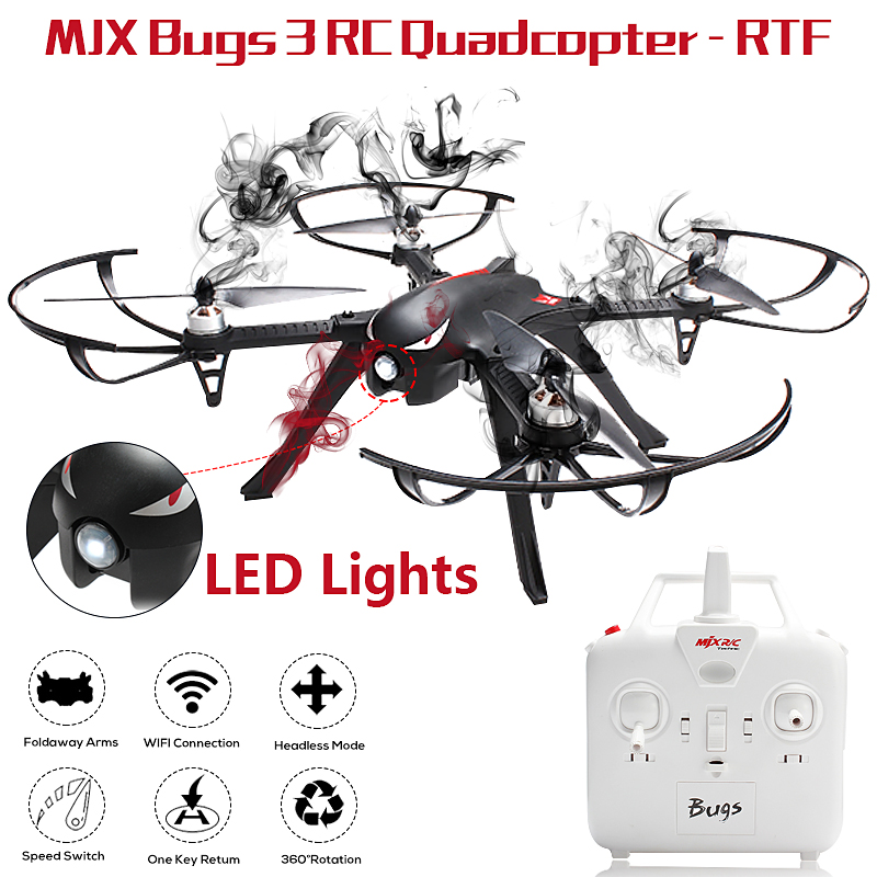 MJX B3 Bugs 3 2.4G 4CH 6-Axis RC Quadcopter Brushless Motor Drone Support  XiaoYi Camera with Inverted Flight, Rolling 180° ,3D Flip Funtion