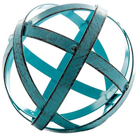 Blue Metal Band Decorative Sphere ()