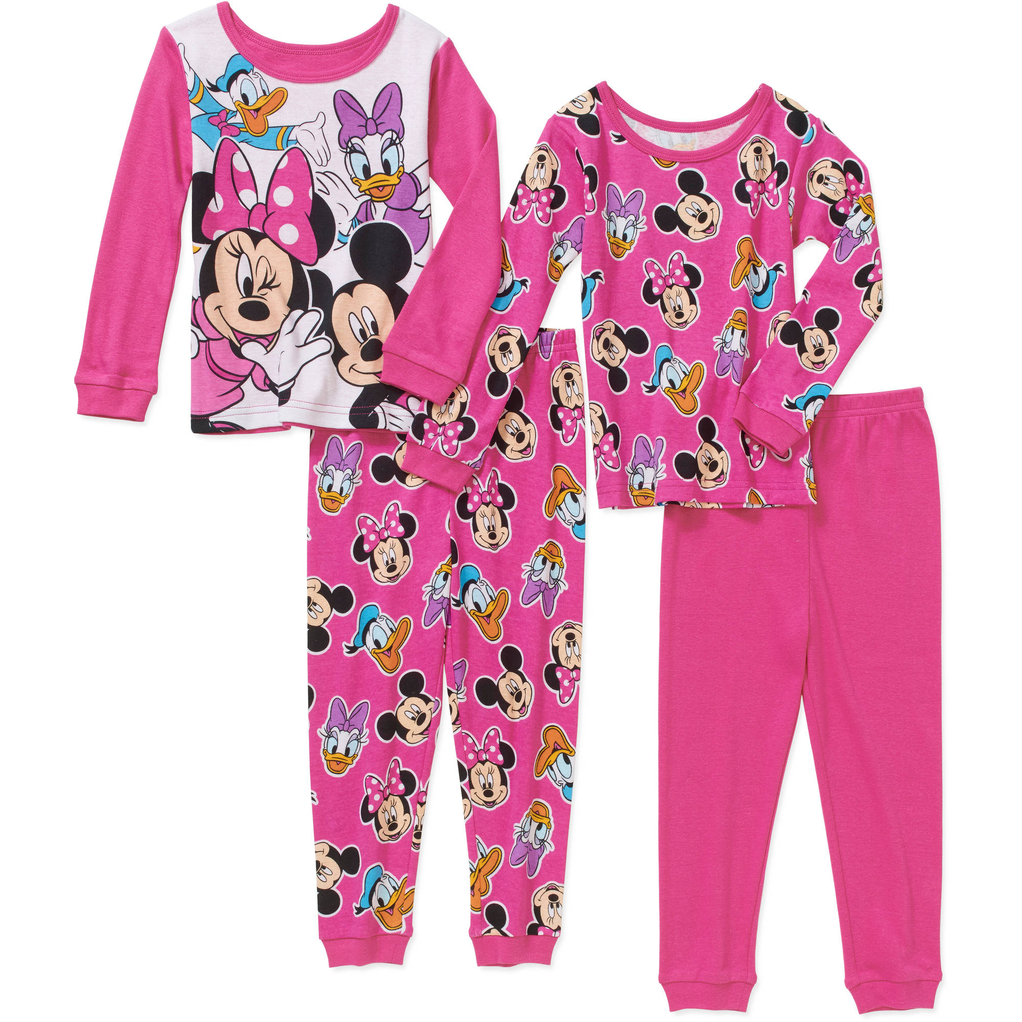 Minnie Mouse Toddler Girl Minnie and Friends Cotton Tight Fit Pajamas 4pc Set