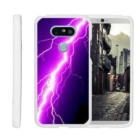 Purple Lightning Bolt (LG G5 H850, H830, H820, LS992, G5 SE, H845, [SNAP SHELL][White] Hard White Plastic Case with Non Slip Matte Coating with Custom Designs - Purple Lightning)