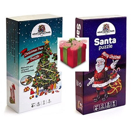 Christmas Floor Jigsaw Puzzle Bundle For Kids Ages 4 8  Large Santa And Large Christmas Tree Puzzle W 29Pc Ornaments Decoration Kit   Free Gift Spill Resistant Bubble Tumbler