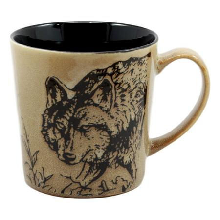 Verde Glaze Ceramic - Ebros Wildlife Prowling Alpha Wolf Coffee Mug 16oz Ceramic Cup Glazed Stoneware